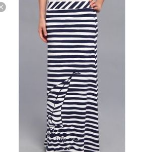 Lily Pulitzer Navy & White Striped Maxi w/sailboat
